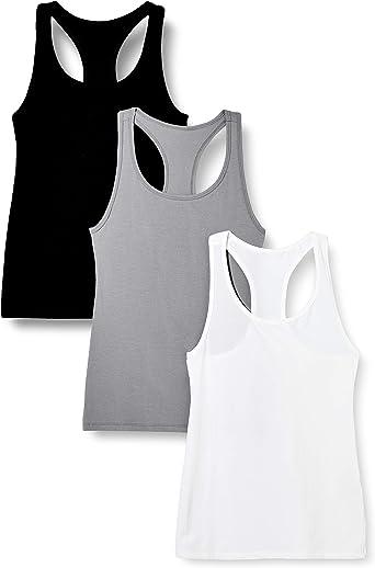 Marca Amazon - Iris & Lilly Camiseta de Tirantes de Algodón Mujer, Pack de 3: Amazon.es: Ropa y accesorios