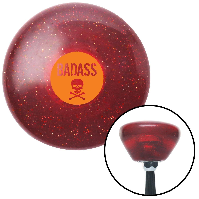Orange Badass Badge Red Retro Metal Flake with M16 x 1.5 Insert American Shifter 290813 Shift Knob