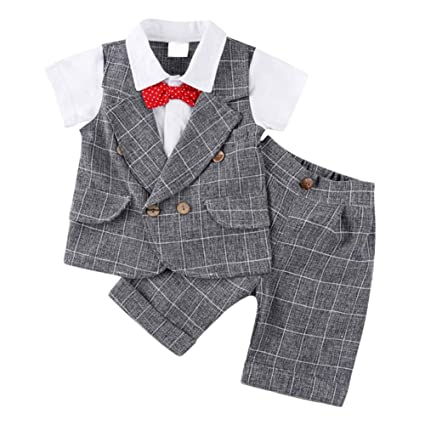 9cb5b84a37689 ベビー ボーイズ 半袖 フォーマル スーツ 男の子 チェック柄 上下 2点 セット ネクタイ ベスト 子供服