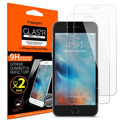 watch 230e6 ea58c Spigen iPhone 6S Plus 6 Plus Screen Protector Tempered Glass / 2 Pack/Case  Friendly for Apple iPhone 6s Plus/iPhone 6 Plus
