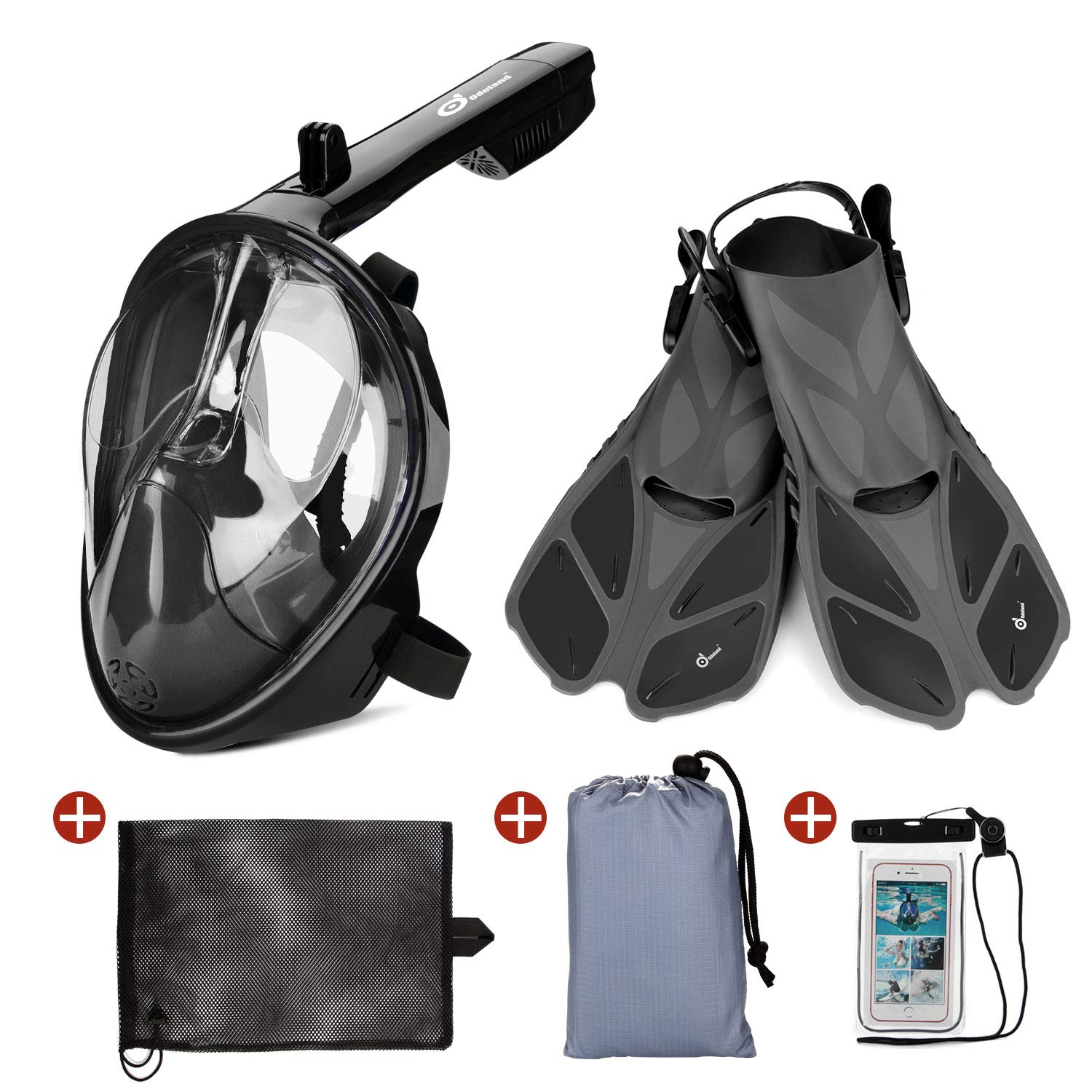 Odoland Snorkel Set, 5-in-1 Snorkel Mask Set with Full Face Snorkel Mask, Snorkel Fins, Beach Blanket, Portable Mesh Bag and Waterproof Phone Case, Best Snorkeling Gear for Adults & Youth, Black by Odoland