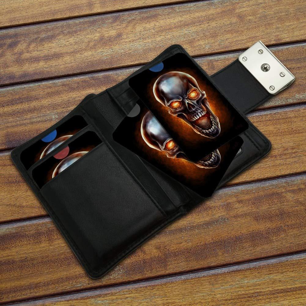 Chrome Metal Flaming Skull Credit Card RFID Blocker Holder Protector Wallet Purse Sleeves Set of 4
