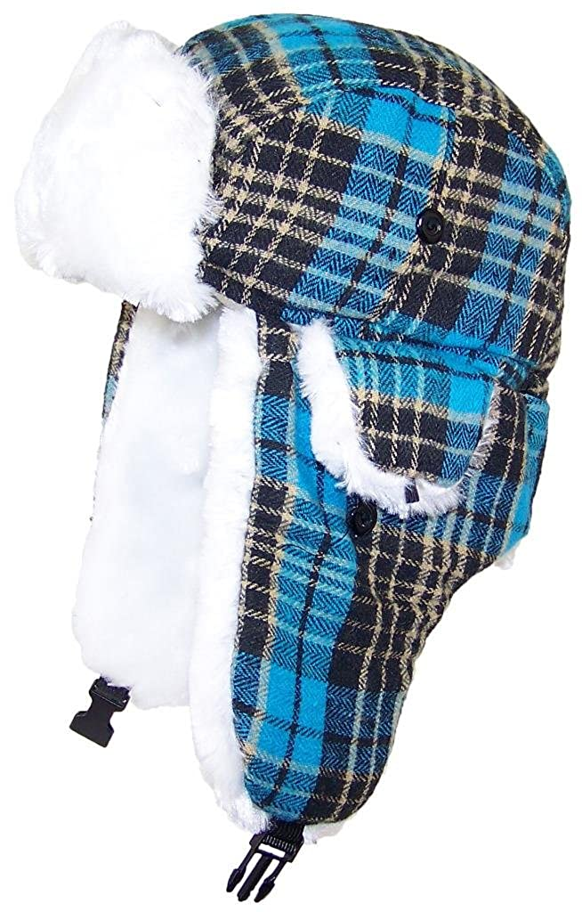 cb1881a0ae8d6a Amazon.com: Best Winter Hats Big Kids Quality Tartan Plaid Russian/Trapper  Hat W/Faux Fur (One Size) - Blue: Clothing