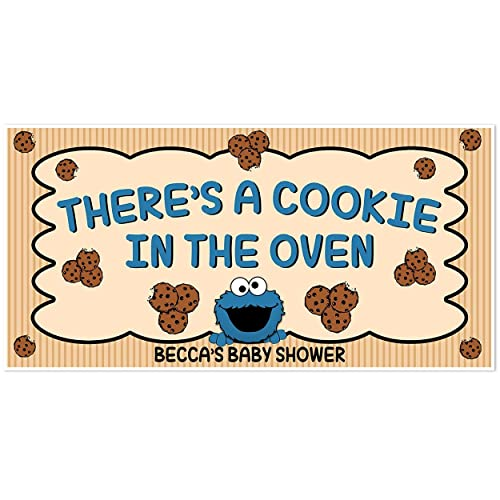 Cookie Monster Cookie In The Oven Baby Shower Banner Personalized Backdrop