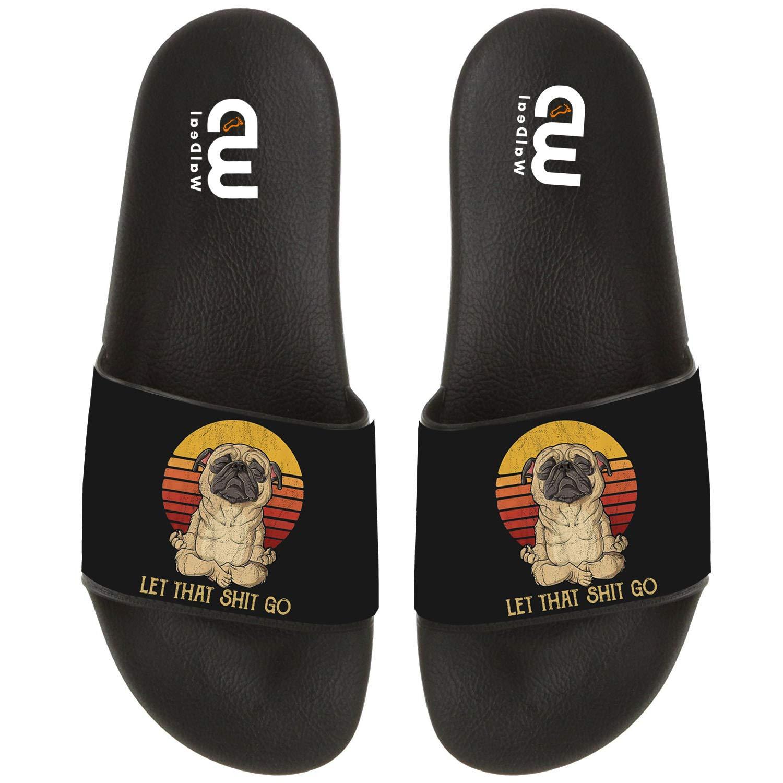 OriginalHeart Let That Shit go Pug Dog Yoga Summer Slide Slipper for Men Women Kid Casual Open-Toe Sandal Shoes