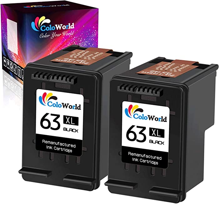 ColoWorld Remanufactured Ink Cartridge Replacement for HP 63 XL 63XL Used for HP Envy 4520 4153 4511 4510 Officejet 3830 5255 4650 5258 3834 4655 Deskjet 1112 3639 3636 Printer (2 Black, 2 Pack)
