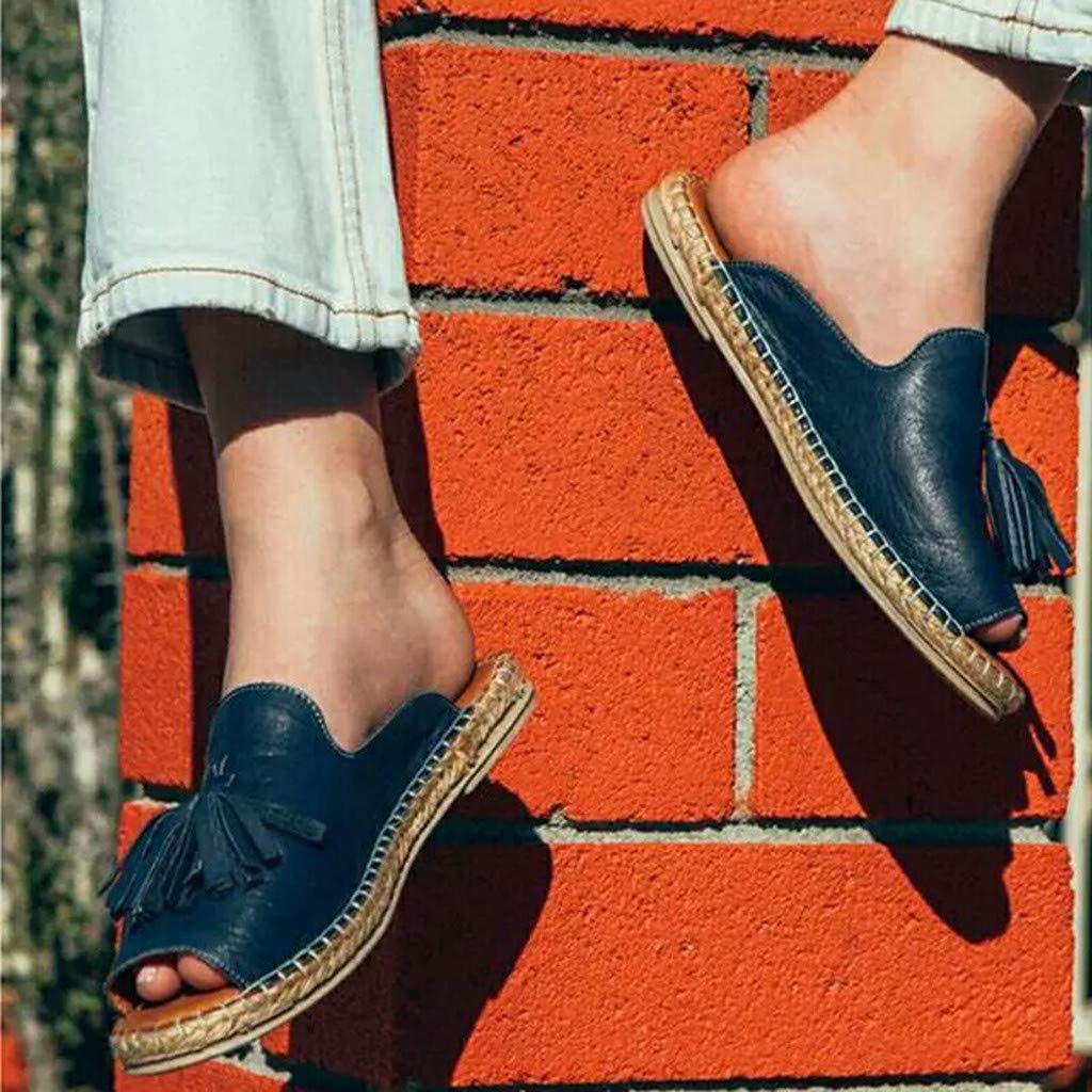 Sandalias Mujer de Piel Sandalias Mujer Verano 2019 Sandalias Planas con Borla Sandalias de Vestir Playa Sandalias de Punta Abierta Roma Casual Sandalias Fiesta Zapatos Tac/ón Alto Tama/ño Grande