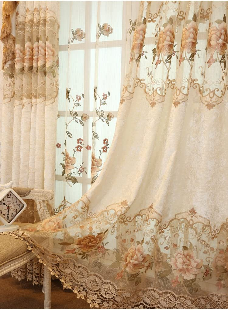 TIYANA Luxury Embroidered Cloth Curtain for Living Room 84 inch Length Custom Romantic Elegant Luxurious Delicate Embroidery Drape Window Dressing Bedroom Grommet Top 1 Panel 54x84 inch