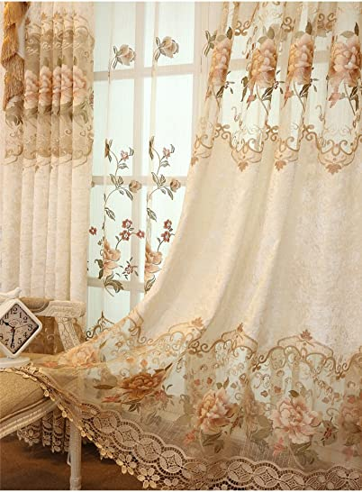 TIYANA Delicate Embroidery Semi Cloth Curtain Extra Wide