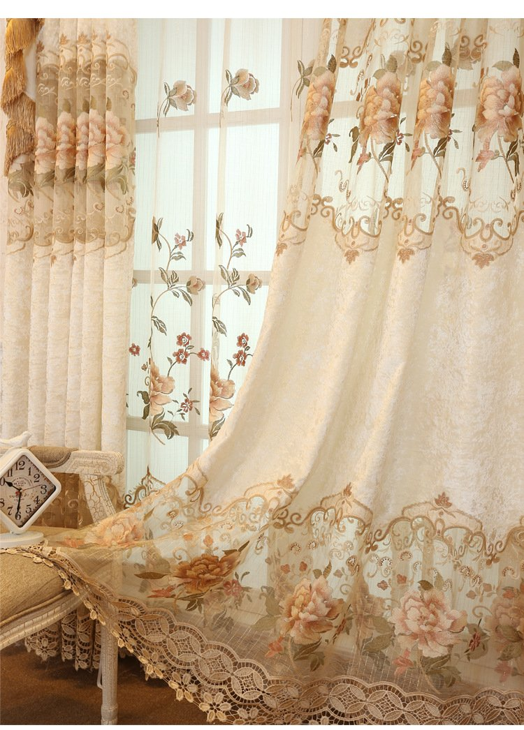 TIYANA European Design Embroidered Curtains for Living Room Grommet Top 2 Panels 39 inch Wide Accept Custom Length 39 x 84 as Default