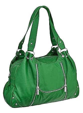 ca6f56a8ab7cea EyeCatchBags - Rachel Kunstleder Damen Schultertasche Handtasche grün