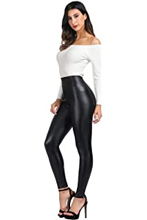 1a128ff84c MCEDAR Women s High Waisted Faux Leather Leggings   Mesh Sport Yoga Leggings  for Causal