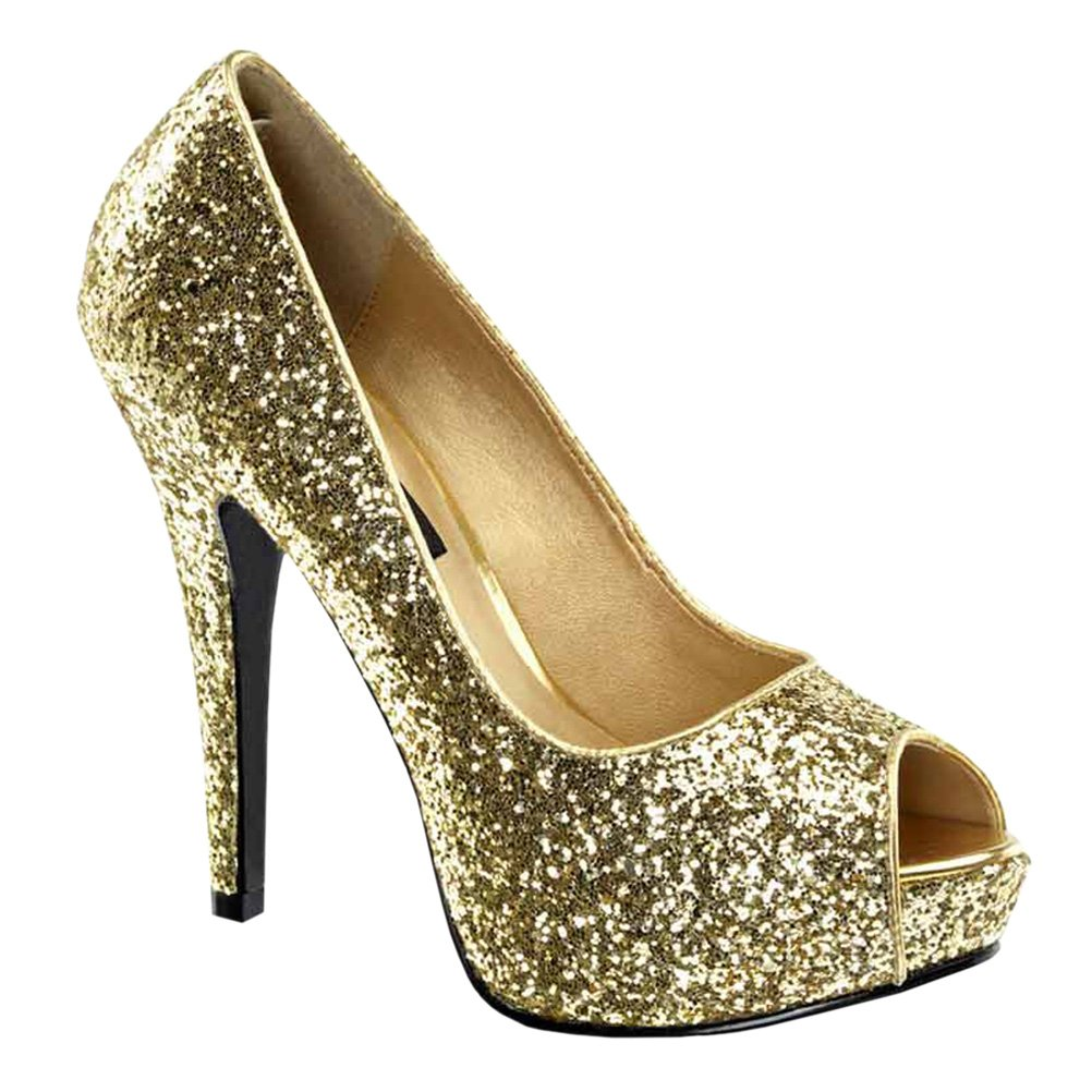 Amazon.com | 5 1/4 Glitter Peep To Pumps High Heel Platform Sexy ...