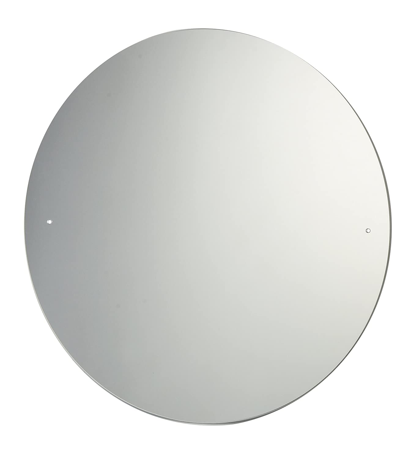40cm Diameter Circular Bathroom Mirror with Drilled Holes & Chrome Cap Wall Hanging Fixing Kit