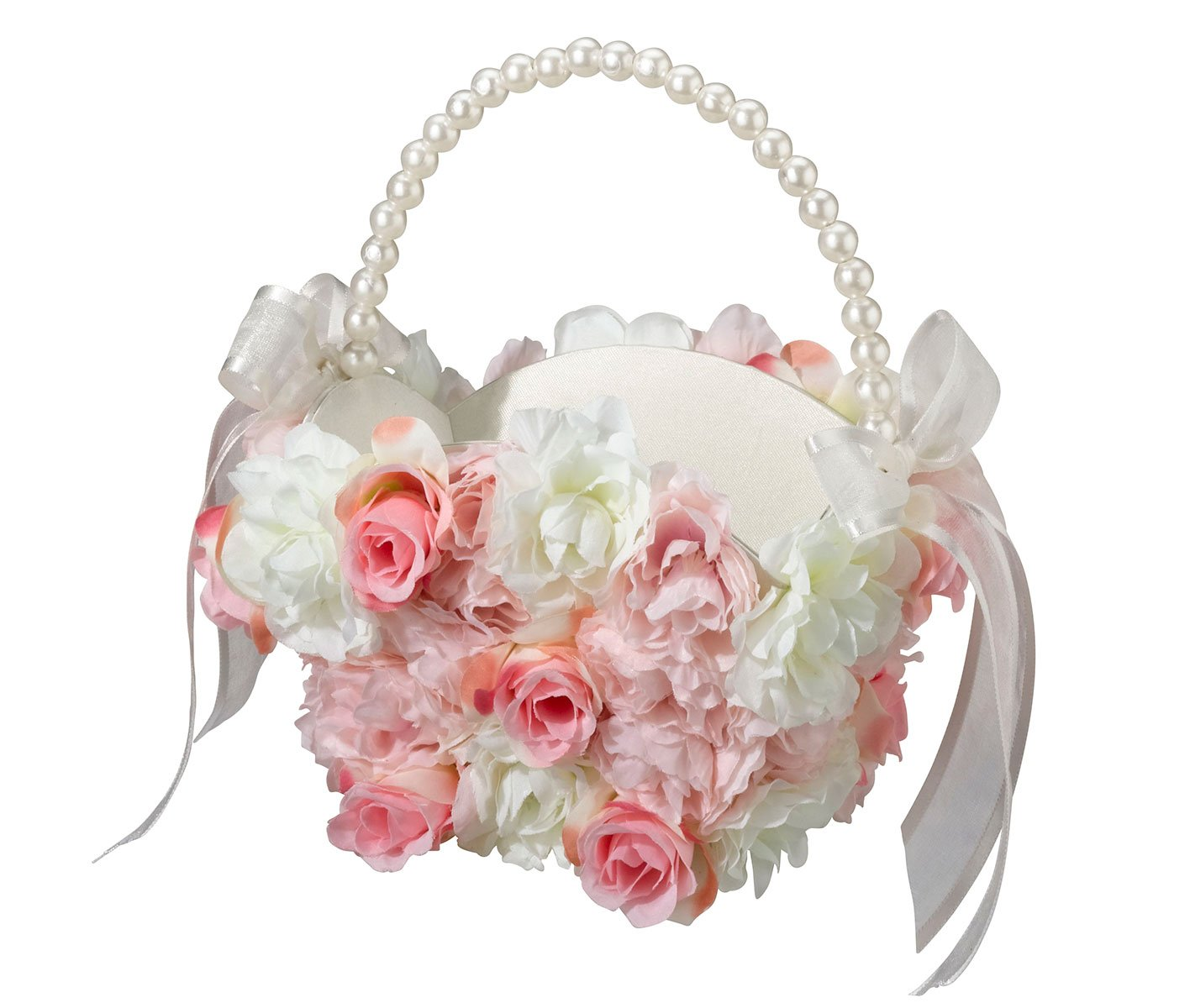 Roy Rose Gifts Lillian Rose Pink and White Floral Flower Girl Basket