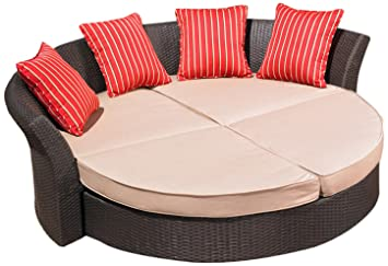 Nice Mission Hills Corinth Daybed Sunbrella Outdoor Patio Round Brown Wicker  Rattan Cushion Beige Lounge Furniture