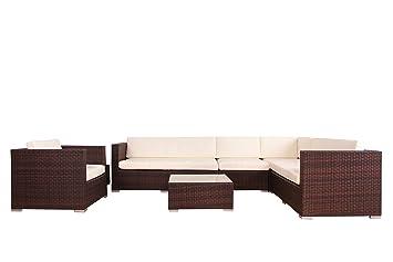 Rattan gartenmöbel braun  Amazon.de: POLY RATTAN AZUR Lounge Gartenset BRAUN Sofa Garnitur ...