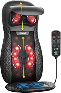 Back & Neck Massager, RENPHO Massage Seat, Shiatsu Massage Chair with Heat and Vibration for Neck, Back, Shoulders, Height Adjustable-Use at Home & Office