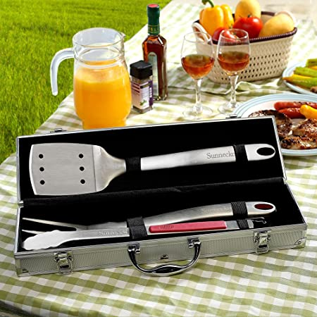 Sunnecko Grill Tool Set 3 Piece Stainless Steel Grill Accessories, BBQ and Spatula,Tongs,Fork with Aluminium Case. The Ultimate Grilling BBQ Accessories