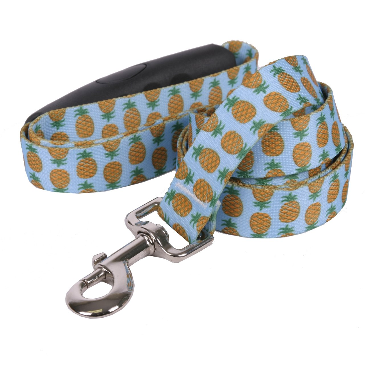 Yellow Dog Design Pineapples Blue EZ-Grip Dog Leash with Comfort Handle, Large-1'' Wide and 5' (60'') Long