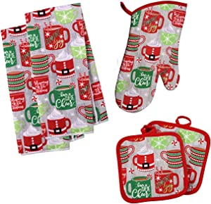 Christmas Towel Set, Winter Themed Decor for Kitchen Bundle of 5 Items, 2 Towels, 2 Potholders, 1 Oven Mitt (Red Hot Cocoa Mugs)