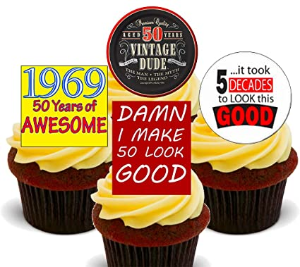 50th Birthday Male 1969 Vintage Edible Cupcake Toppers