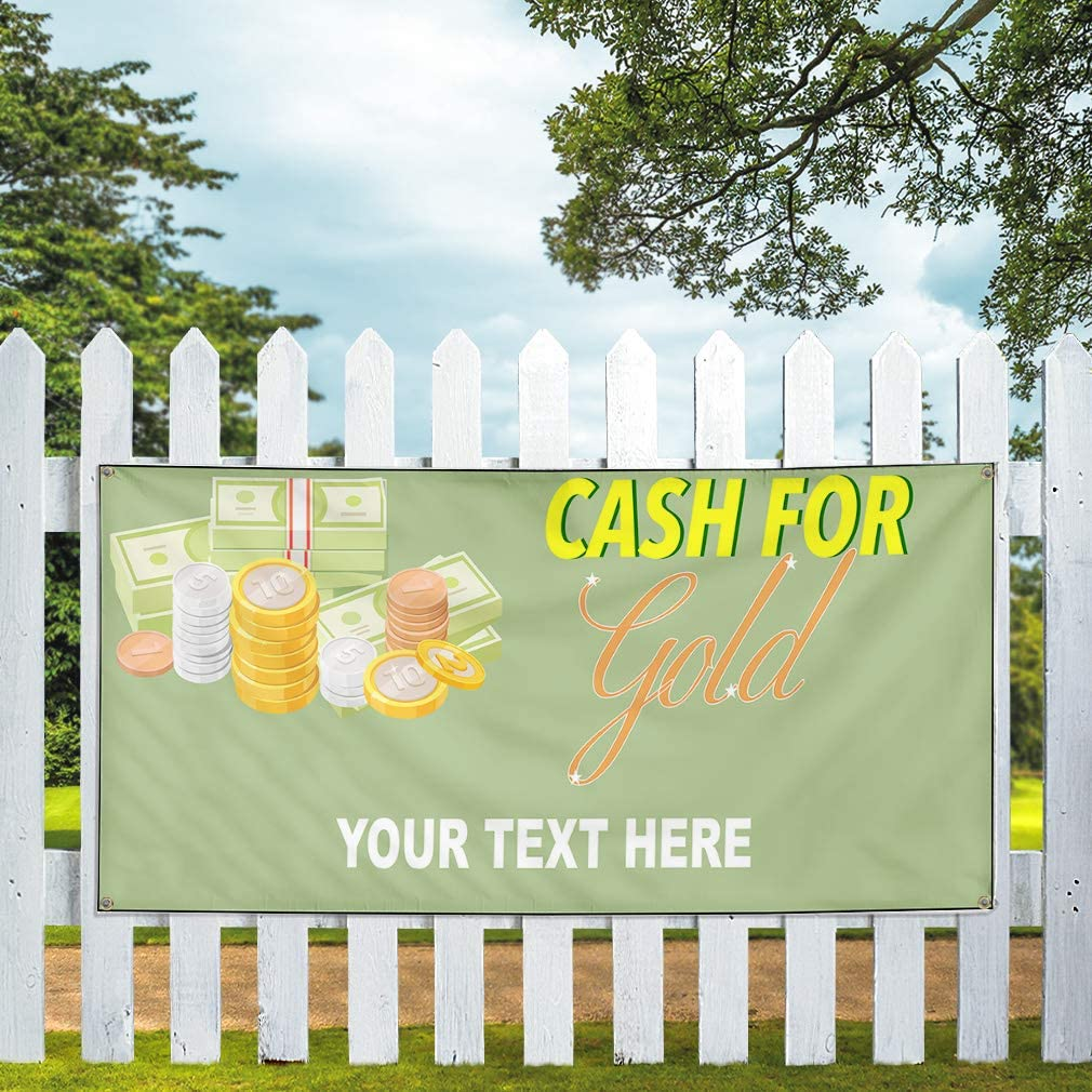 Custom Industrial Vinyl Banner Multiple Sizes Cash for Gold Style A Personalized Text Here Business Outdoor Weatherproof Yard Signs Yellow 10 Grommets 56x140Inches