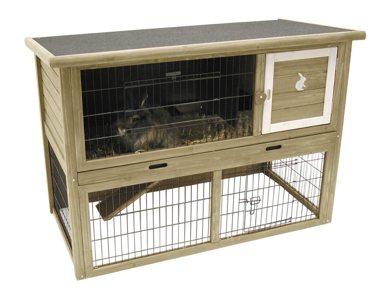 Nobby Holz 2-Stufig Stall mit Ziehen Tablett und Öffnung Dach für Kaninchen/Meerschweinchen/Frettchen, 124x 65x 88cm, grün