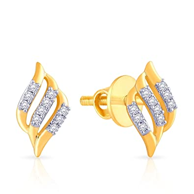 ct earrings round tw cut yellow stud martini prong diamond pid certified gold