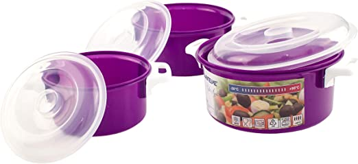 Mikrowellenschüssel Set 5 tlg Mikrowellen Küchen Schüssel Dose Deckel Kunststoff