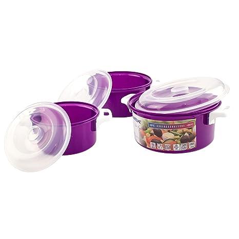 Lantelme 2 pieza Microondas Cuenco plástico color violeta. Cuenco ...