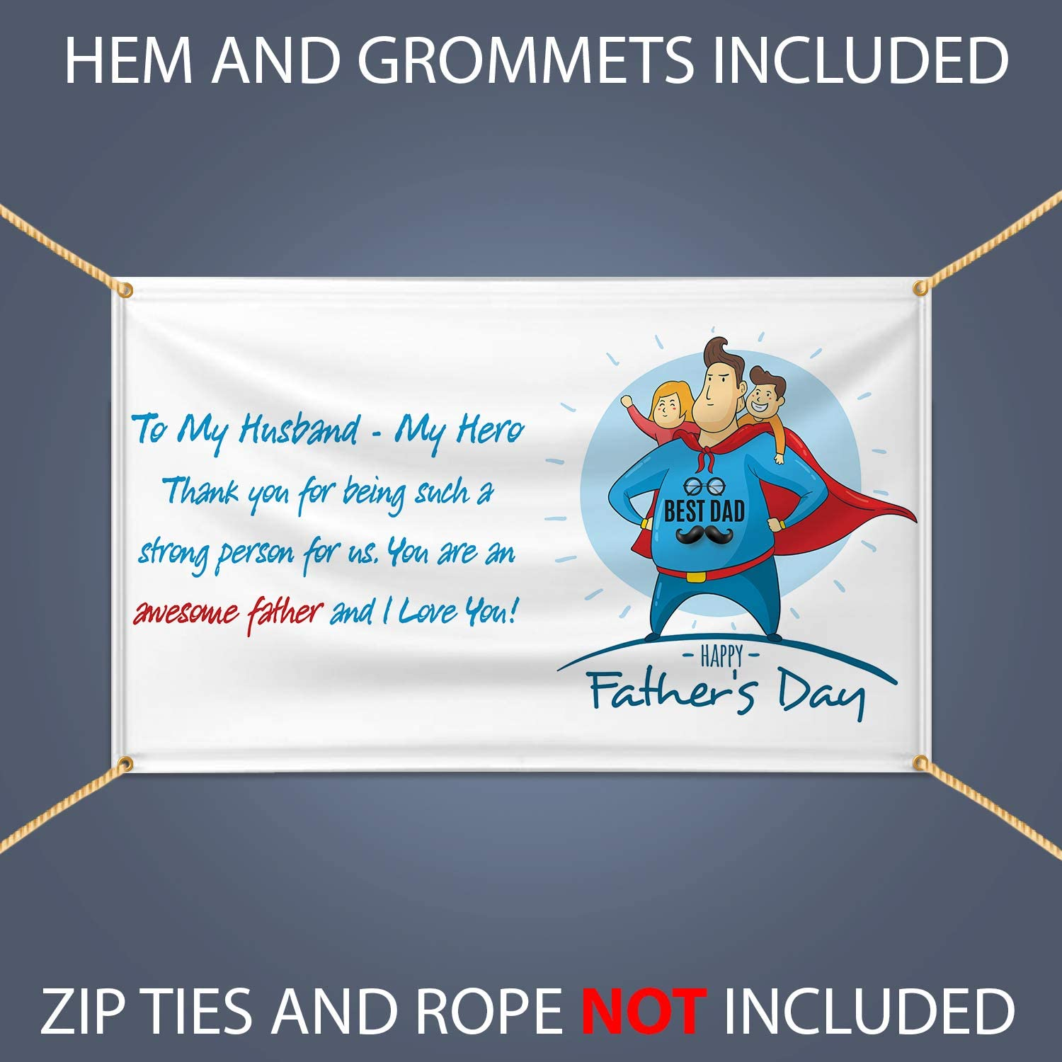 Happy Fathers Day Best Dad Vinyl Banner Flex Banner with Hem and Metal Grommets 6 X 3 Party Supplies /& Decorations Sign for Indoor Outdoor Decor