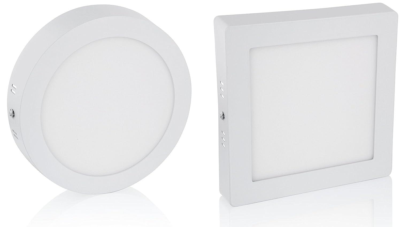 Ultraslim LED Aufbau Panel 230V - Aluminium-Druckguss (6W - eckig - warmweiß) [Energieklasse A+] HAVA