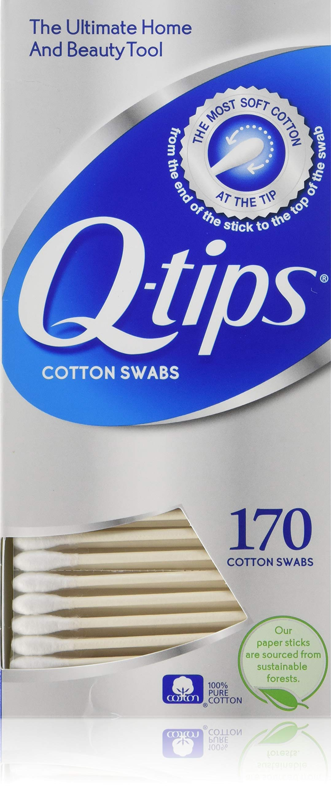 PACK OF 12 - Q-tips Precision Tips Cotton Swabs, 170 count