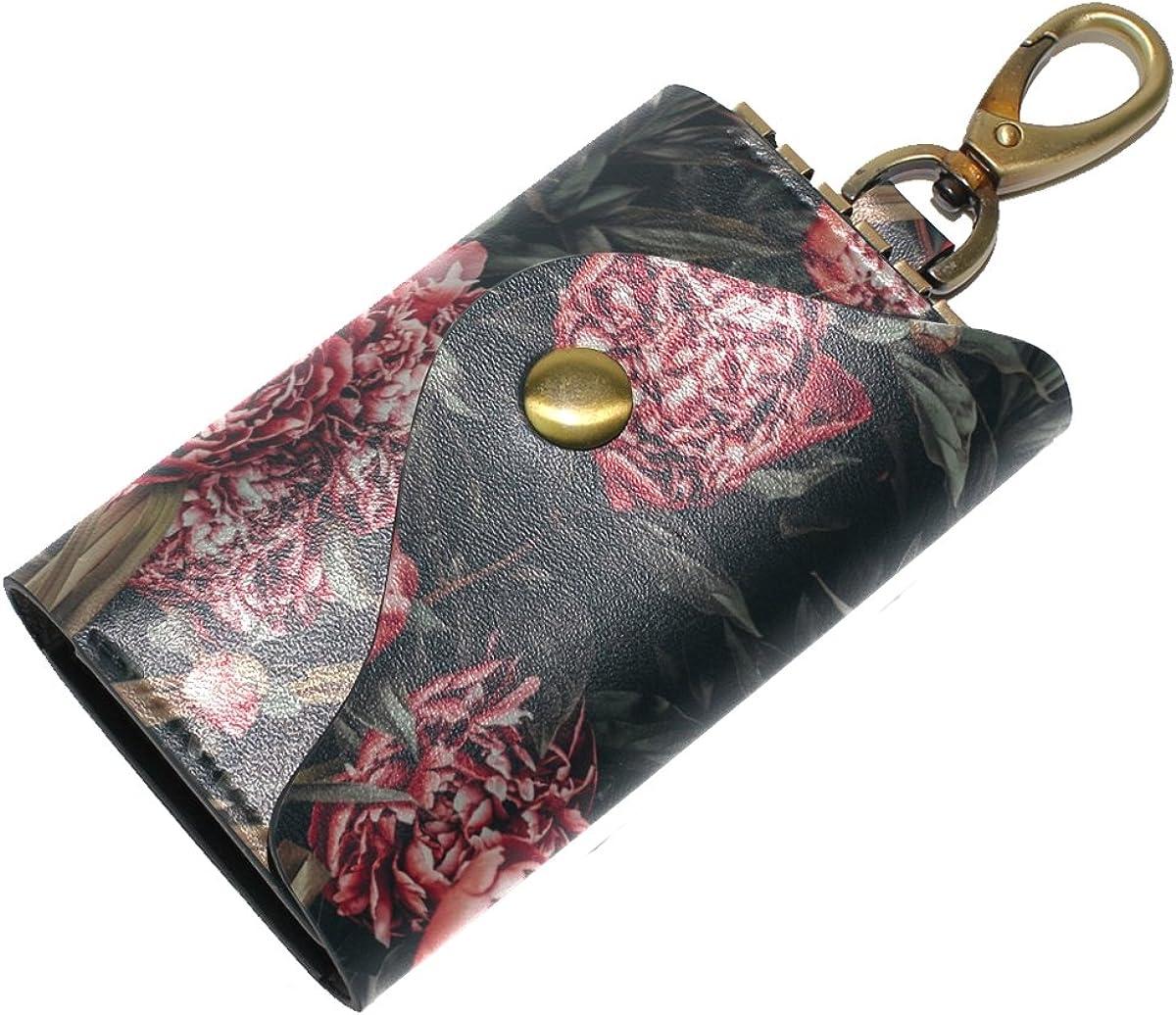 DEYYA Red Peonies Painting Leather Key Case Wallets Unisex Keychain Key Holder with 6 Hooks Snap Closure