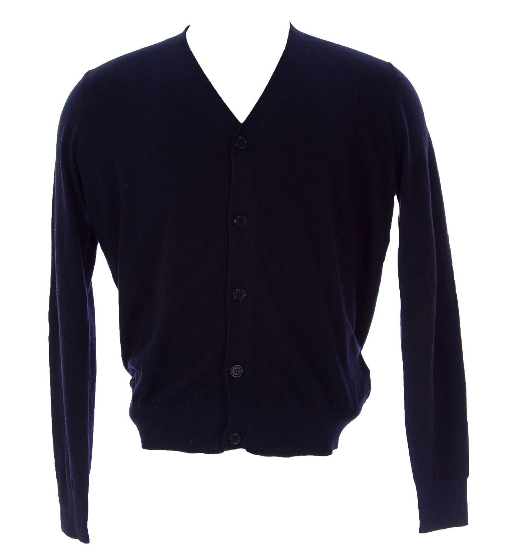 Etiqueta Negra Mens Button-Up Cardigan Navy Blue