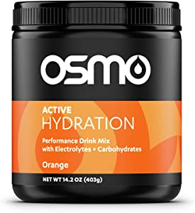 Osmo Nutrition Active Hydration Mix   During-Exercise Electrolyte Powdered Drink   Fastest Way to Rehydrate   Improves Power Output & Endurance   All Natural Ingredients (Orange, 15 oz.)