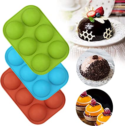 blue 4 Packs Baking Molds for Hot Chocolate Bomb Cake Medium Semi Sphere Silicone Molds Jelly Hot Cocoa Bomb Ball Mold Dome Mousse Making