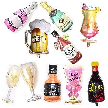 Amazon.com: 10 globos de champán para botella de vino de 40 ...
