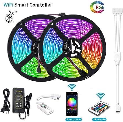 10 M LED Tiras de Wifi, lunsy 2 16.4 ft 5050 LED luz kit de rayas ...