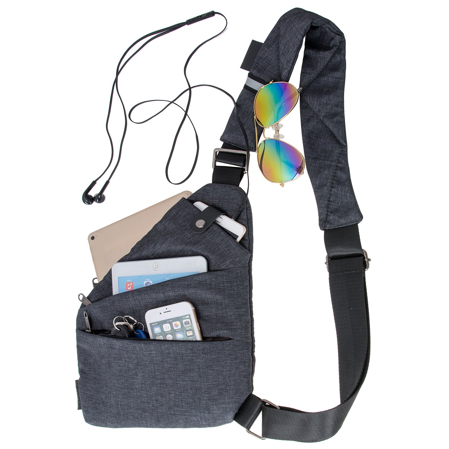 LEYAN Sling Bag Shoulder Chest Bags Cross Body Backpack Multipurpose Anti Theft Pack Daypack Bags For Outdoor Sport Travel Hiking (Right hand)