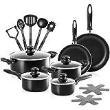 Chef's Star 17 Piece Professional Grade Aluminum Non-stick Pots & Pans Set - Black