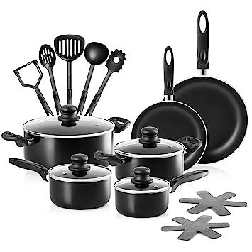 Chefs Star Juego de ollas y sartenes de aluminio 17 piezas: Amazon.es: Hogar
