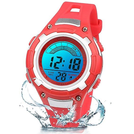 Reloj Digital para Niños Niña,Luz Intermitente LED de 7 Colores Reloj de Pulsera Niña Multifunción con Pantalla Impermeable para Niños,Niñas Reloj ...