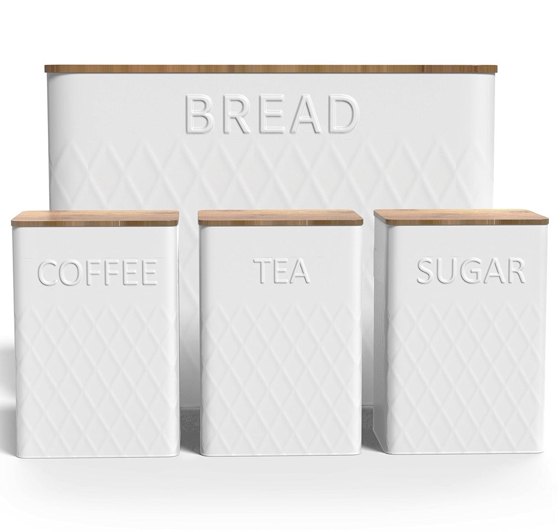 Extra Large Vertical Breadボックス、食品キャニスターセット+竹カッティングボード – ストレージ – Non Toxic – Eco Friendly B07C6Z59G5