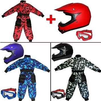 Leopard LEO-X19 PREDATOR { Kids Motocross Helmet /& Gloves /& Goggles 9-10 Yrs Blue S } Child Dirt Bike Motorocycle Helmet Clothing Suit L