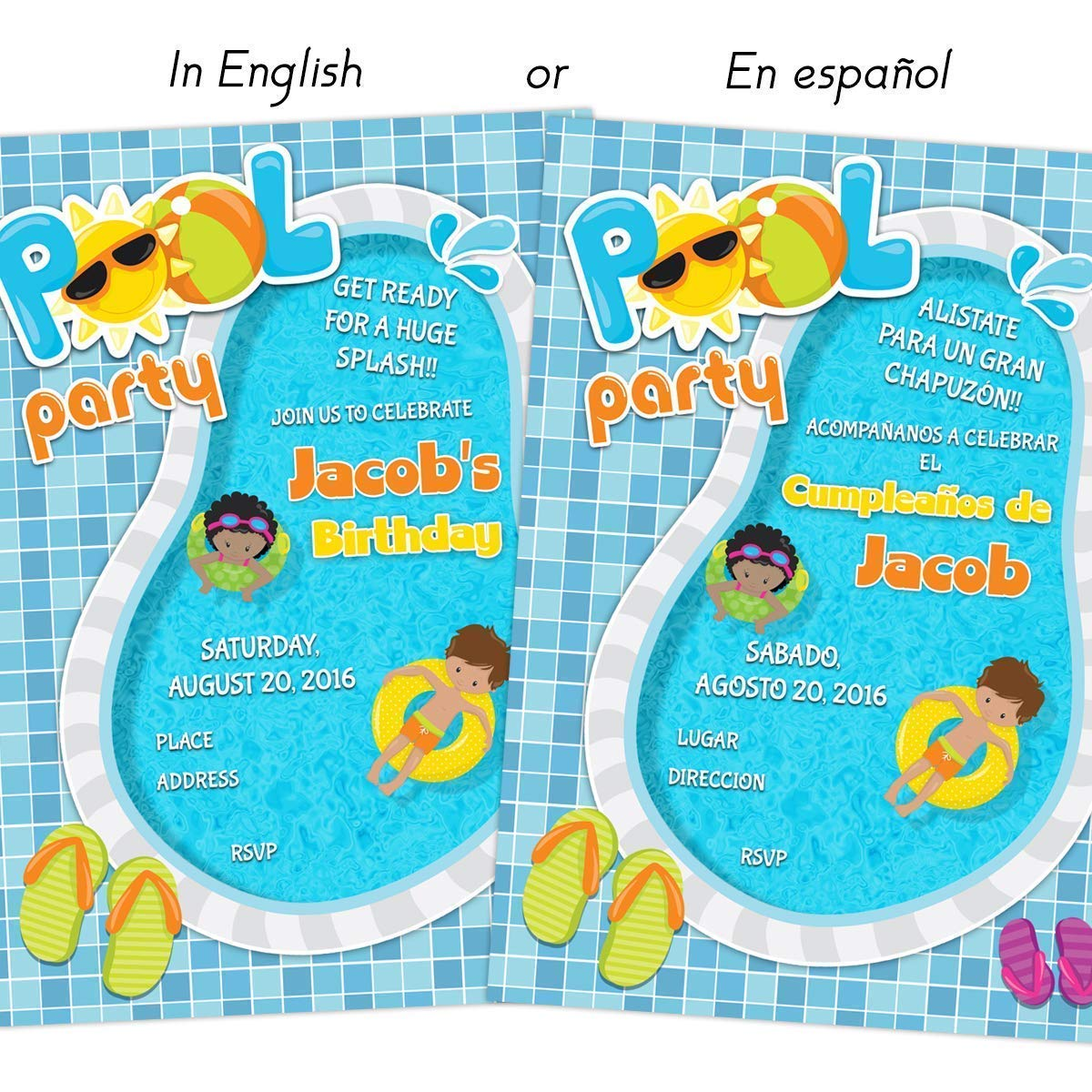 Amazon.com: Pool Party Custom Invitations kit. Text fully ...