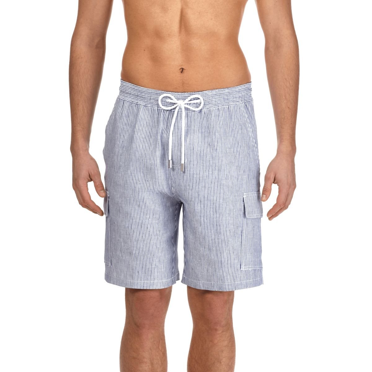 Vilebrequin - Men Cargo Linen Bermuda Shorts Micro Stripes - Ultramarine - S