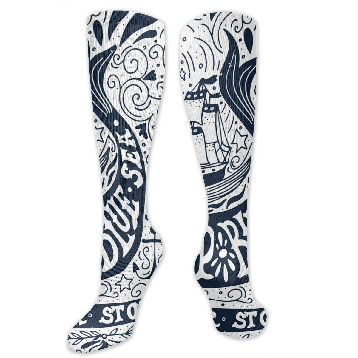 Chanwazibibiliu Classic Art with Ship Whale Quotes Mens Colorful Dress Socks Funky Men Multicolored Pattern Fashionable Fun Crew Cotton Socks