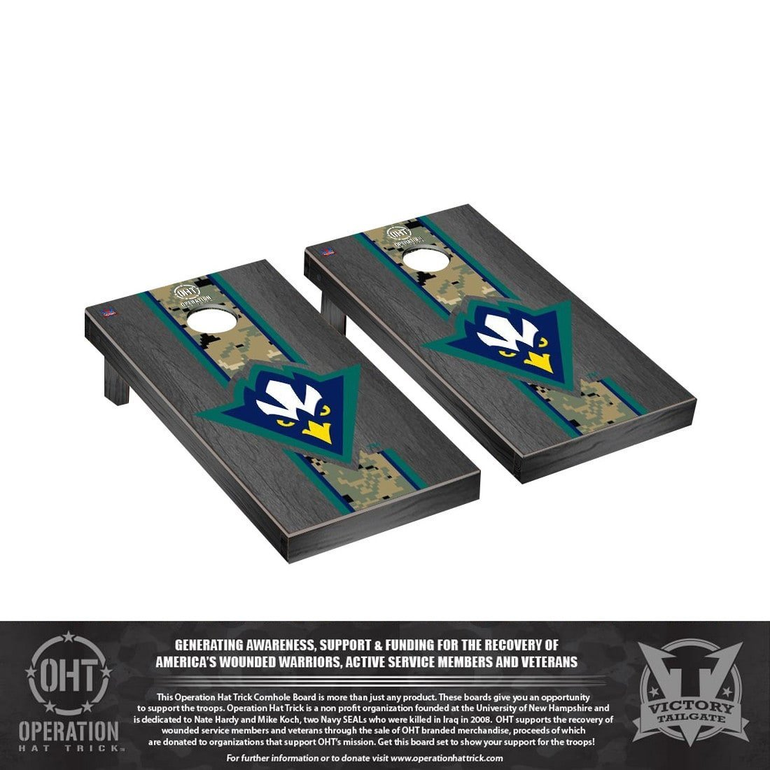 Victory Tailgate Operation Hat Trick North Carolina at Wilmington UNCW Seahawks Cornhole Set Onyx Stained Version by Victory Tailgate (Image #1)